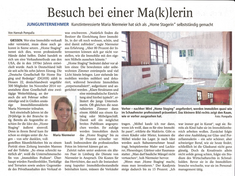 Pressebericht Home Staging Immobilien Podium